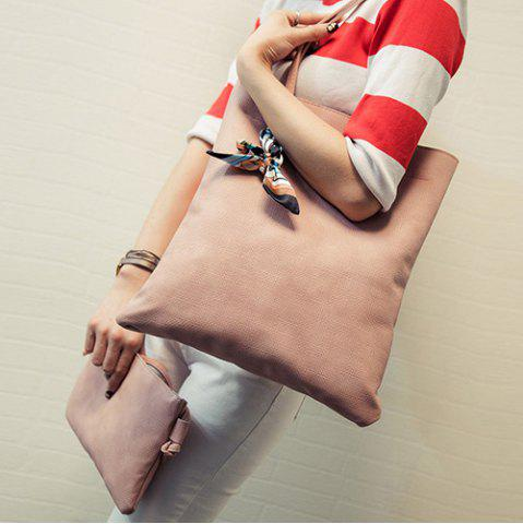 Chic Leisure Solid Color and PU Leather Design Shoulder Bag For Women - LATERITE  Mobile