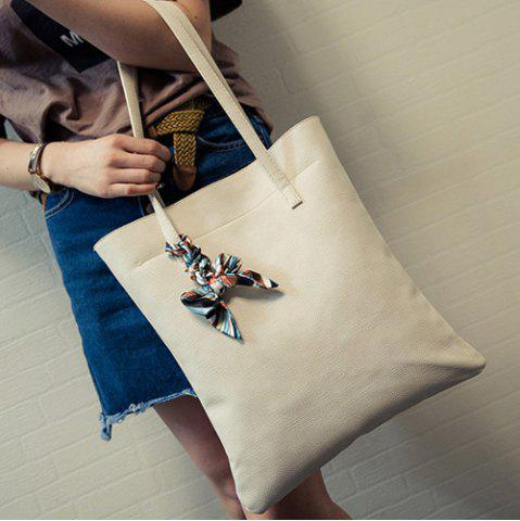 Online Leisure Solid Color and PU Leather Design Shoulder Bag For Women - OFF-WHITE  Mobile