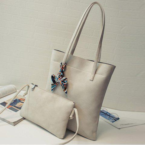Latest Leisure Solid Color and PU Leather Design Shoulder Bag For Women - OFF-WHITE  Mobile