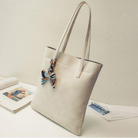 Fancy Leisure Solid Color and PU Leather Design Shoulder Bag For Women - OFF-WHITE  Mobile