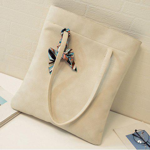 Fashion Leisure Solid Color and PU Leather Design Shoulder Bag For Women - OFF-WHITE  Mobile