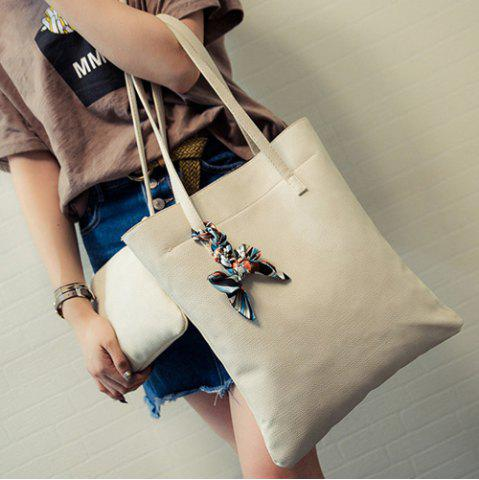 Sale Leisure Solid Color and PU Leather Design Shoulder Bag For Women - OFF-WHITE  Mobile