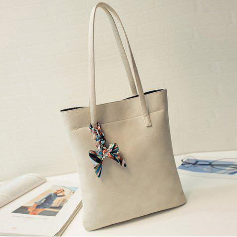 Affordable Leisure Solid Color and PU Leather Design Shoulder Bag For Women - OFF-WHITE  Mobile