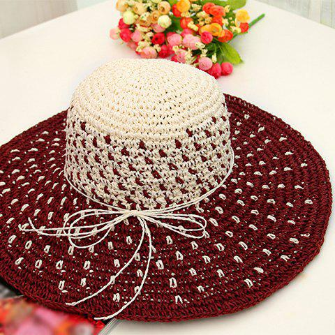 Latest Chic Bowknot Rope Mix Color Sweet Lady Style Holiday Straw Hat For Women