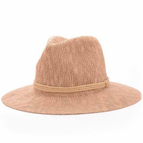 New Chic Three Layered Rope Embellished Holiday Sun Hat For Women - KHAKI  Mobile