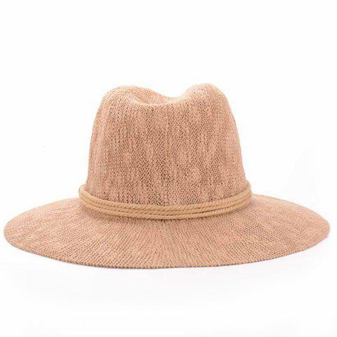 Best Chic Three Layered Rope Embellished Holiday Sun Hat For Women - KHAKI  Mobile