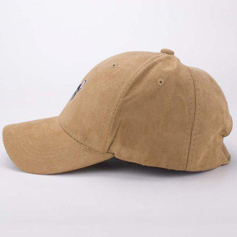 Online Stylish Cartoon Dog Head Embroidery Hot Summer Suede Baseball Cap For Men - LIGHT COFFEE  Mobile