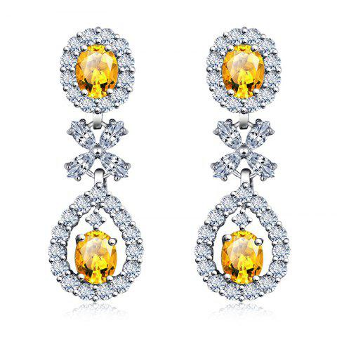Hot Pair of Oval Faux Gem Zircon Floral Earrings
