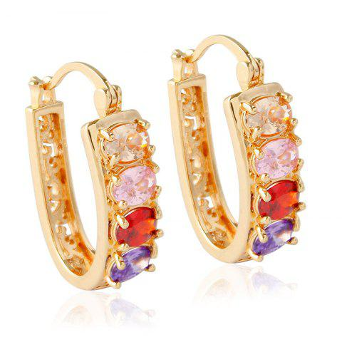 Best Pair of Alloy Rhinestone Hollow Out Hoop Earrings GOLDEN
