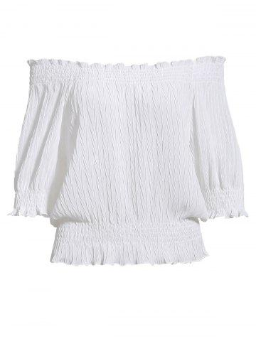 Latest Sweet Off-The-Shoulder Ruffled Puff Sleeves Chiffon Short Blouse For Women