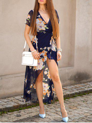 Floral Sheer Short Sleeve Wrap Maxi Dress - Purplish Blue - L