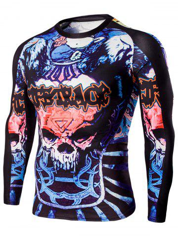 Discount Round Neck Skull and Words Print Long Sleeves T-Shirt For Men