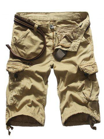 Fashion Loose Fit Multi-pockets Solid Color Men's Cargo Shorts