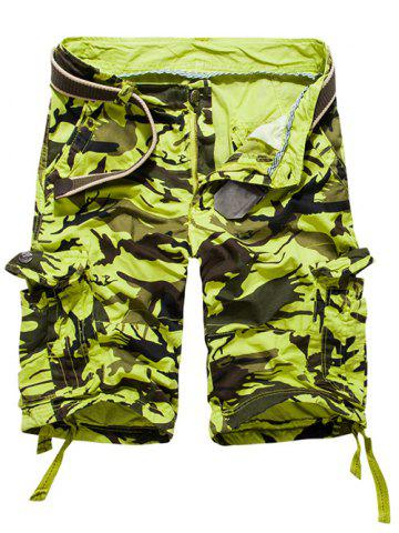 Shops Loose Fit Multi-pockets Camo Printed Men's Cargo Shorts APPLE GREEN 38