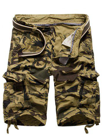 Outfit Loose Fit Multi-pockets Camo Printed Men's Cargo Shorts - 30 KHAKI Mobile