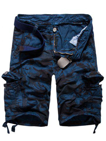 New Loose Fit Multi-pockets Camo Printed Men's Cargo Shorts BLUE 34