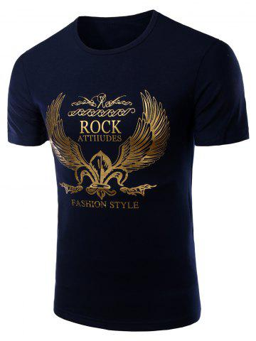 Unique Fashion Round Neck Golden Wing Print Short Sleeves T-Shirt For Men - M CADETBLUE Mobile