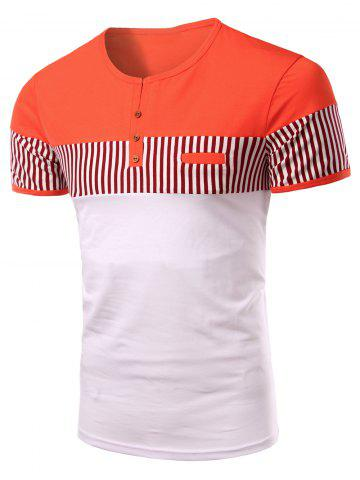 Store Stripes Round Neck Button Design Color Block Short Sleeves T-Shirt For Men