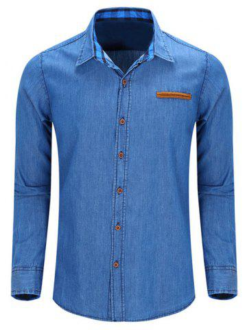 Fancy Fashion Turn Down Collar Denim Shirts For Men LIGHT BLUE 2XL