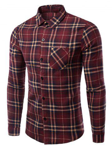 Trendy Turn-Down Collar Pocket Checked Pattern Long Sleeves Shirt For Men WINE RED 2XL