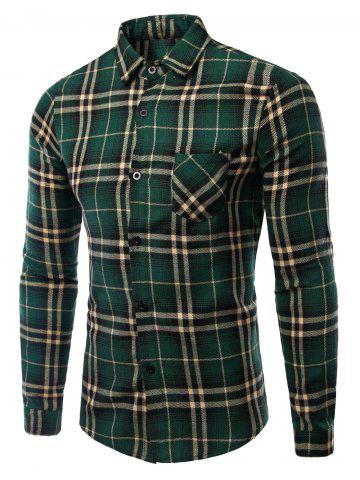 Turn-Down Collar Pocket Checked Pattern Long Sleeves Shirt For Men - Green - M