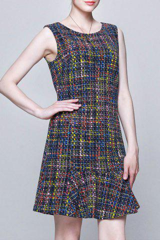 Store Colorful Plaid Sleeveless Dress