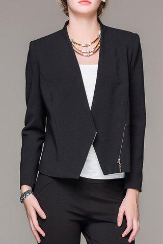 Fancy Plunging Neck Zippered Black Blazer