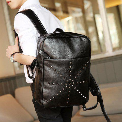 Best Trendy Rivet and Black Color Design Backpack For Men - BLACK  Mobile