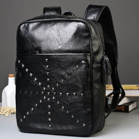 Shops Trendy Rivet and Black Color Design Backpack For Men - BLACK  Mobile