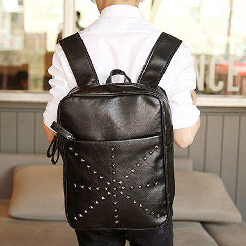 New Trendy Rivet and Black Color Design Backpack For Men - BLACK  Mobile