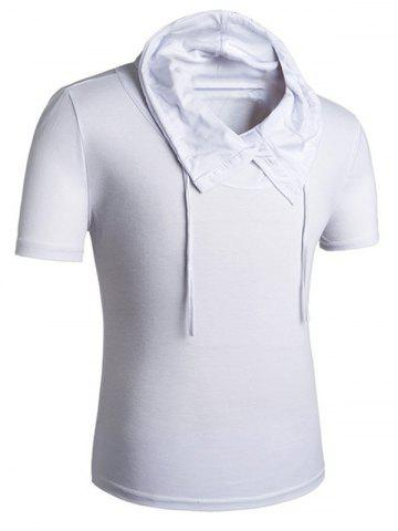 Latest Heaps Collar Buttons Embellished Shorts Sleeve T-Shirt For Men WHITE M