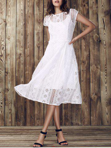 Discount Elegant Round Collar Hollow Out Short Sleeve Lace Dress For Women