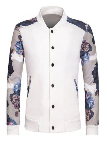 Sale Stand Collar Long Sleeve Rib Spliced Floral Print Button-Up Sweatshirt