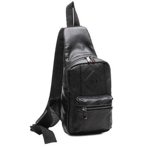 Chic Leisure Zips and PU Leather Design Messenger Bag For Men