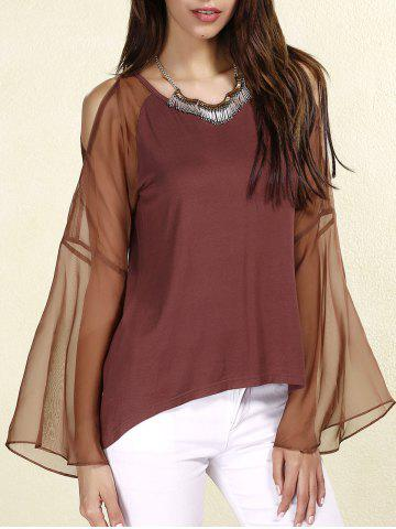 Outfits Sexy Scoop Neck Long Sleeves Chiffon Splicing T-Shirt For Women COFFEE L