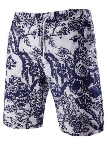 Shop Casual Lace Up Tree Printing Boardshorts For Men