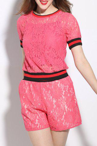Hot Short Sleeve Lace T-Shirt and Shorts Twinset