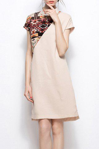 Fancy Mandarin Collar Printed Dress