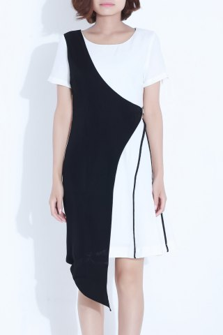 Latest Color Block Irregular Dress