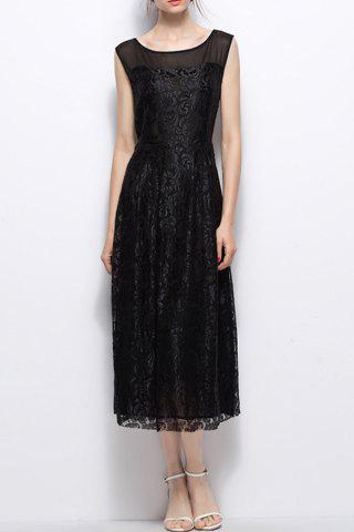 Trendy Pleated Lace Dress