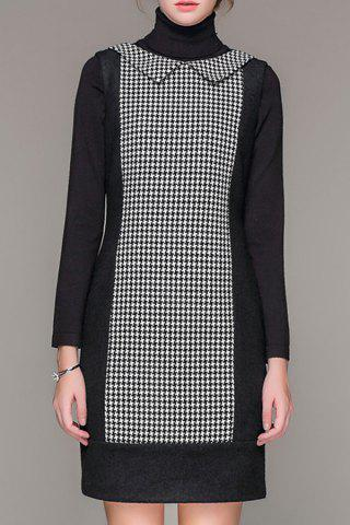 Fancy Flat Collar Houndstooth Mini Dress