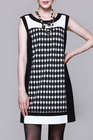 Trendy Houndstooth A Line Mini Dress