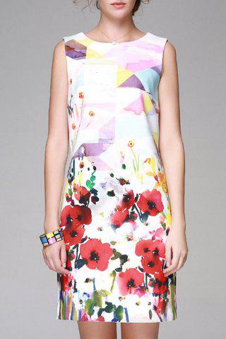 Affordable Flower Print Bodycon Sleeveless Dress