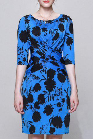 Unique Plant Print Ruched Work Dress
