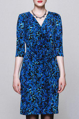 Store V Neck Camo Ruched Dress