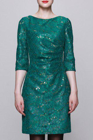 Affordable Sequined Bodycon 3/4 Sleeve Dress