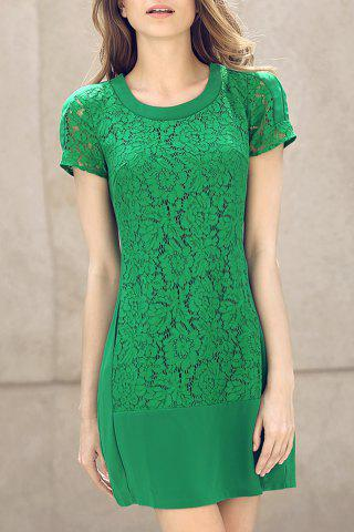 Online Green Fitted Lace Panel Dress