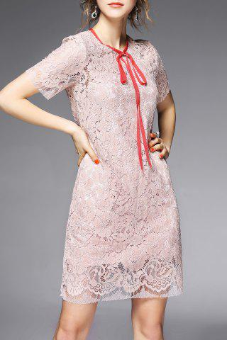 Affordable Bow Tied Lace Dress and Cami Dress Twinset