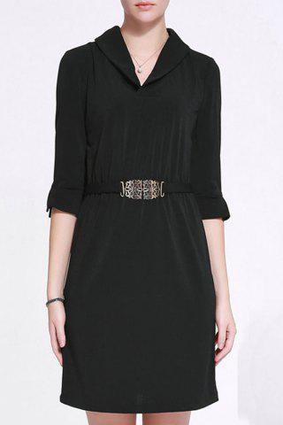 Latest Shawl Collar Belted Bodycon Dress