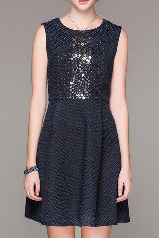 Hot Round Collar Beaded Sleeveless Dress
